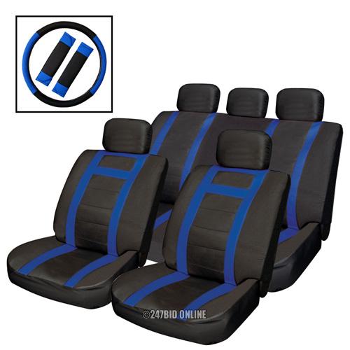 BLACK BLUE LEATHER LOOK CAR SEAT COVERS SET STEERING WHEEL