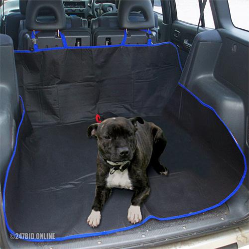 black blue 2in1 waterproof car rear seat protector boot liner dog lead belt ebay. Black Bedroom Furniture Sets. Home Design Ideas