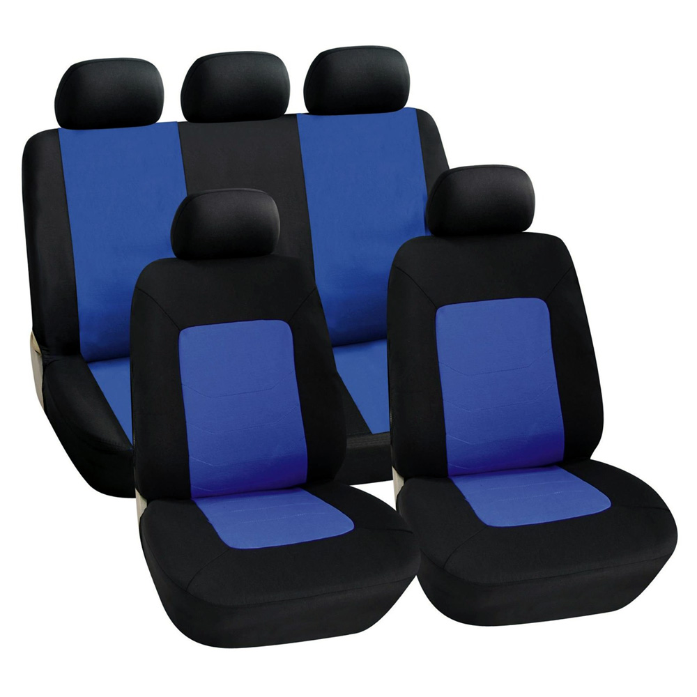 11pc black blue car seat covers set universal fit air bag friendly protectors ebay. Black Bedroom Furniture Sets. Home Design Ideas