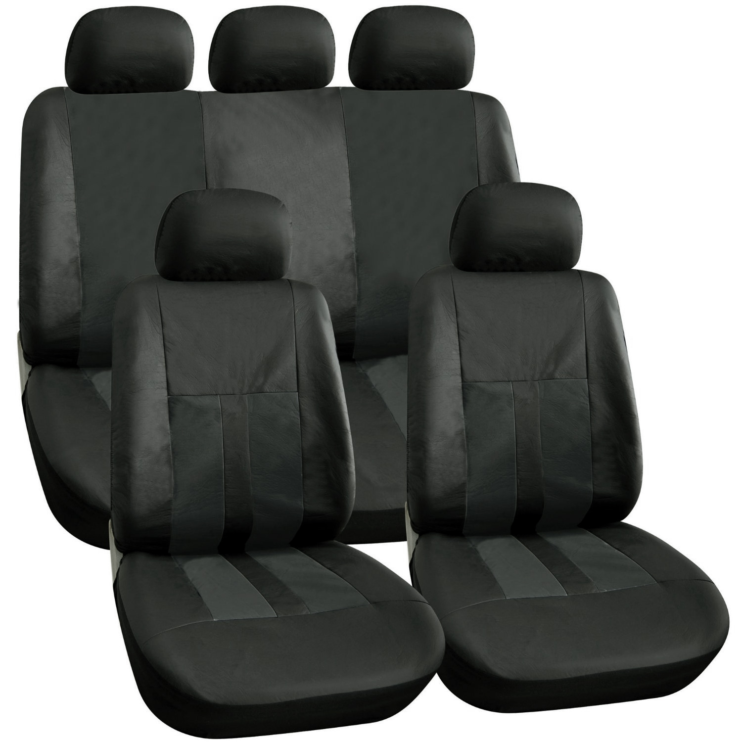 BLACK LEATHER LOOK CAR SEAT COVERS SET STEERING WHEEL
