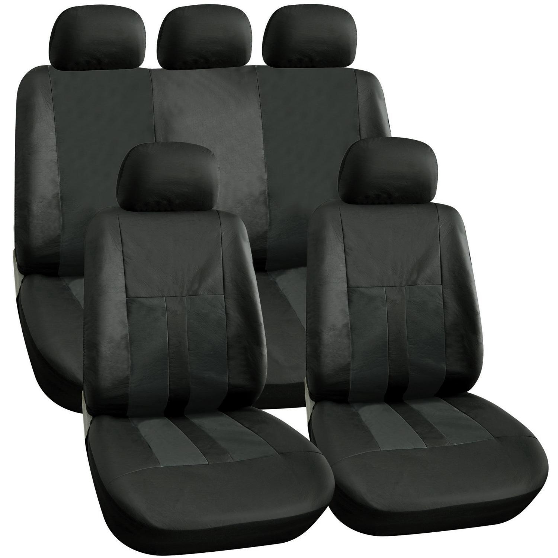BLACK LEATHER LOOK CAR SEAT COVERS SET STEERING WHEEL