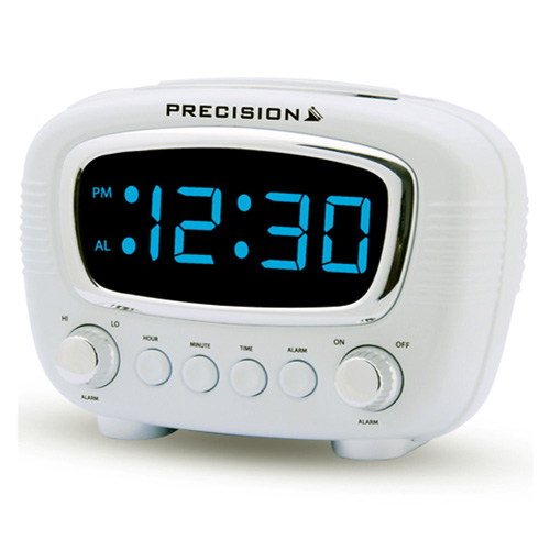 precision radio controlled retro style digital alarm clock with blue led display ebay. Black Bedroom Furniture Sets. Home Design Ideas