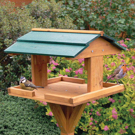 TRADITIONAL FREE STANDING WOODEN WILD BIRD TABLE FEEDER ...