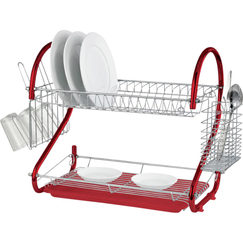 2 Tier Red Amp Chrome Dish Drainer Drying Rack Drip Tray
