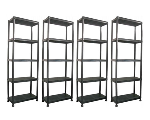4 x 5 tier black plastic shelving unit storage shelves ebay. Black Bedroom Furniture Sets. Home Design Ideas
