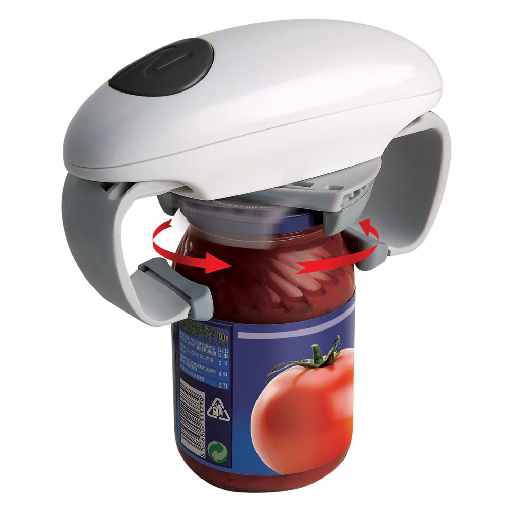One touch hands free cordless automatic jar opener battery