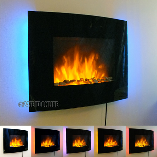 LED BACKLIT GLASS WALL MOUNTED FIREPLACE HEATER FLAME EFFECT