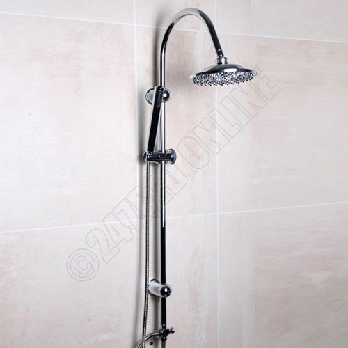 CHROME BATHROOM RAINFALL SHOWER HEAD MIXER BAR SET DUAL HEADS HOSE ANTI SCALI
