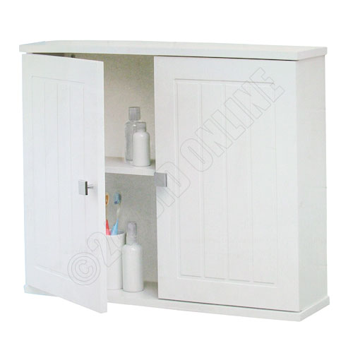White Wooden Wall Mounted Tongue Groove Bathroom Cabinet 2 Shelf Storage Unit Ebay