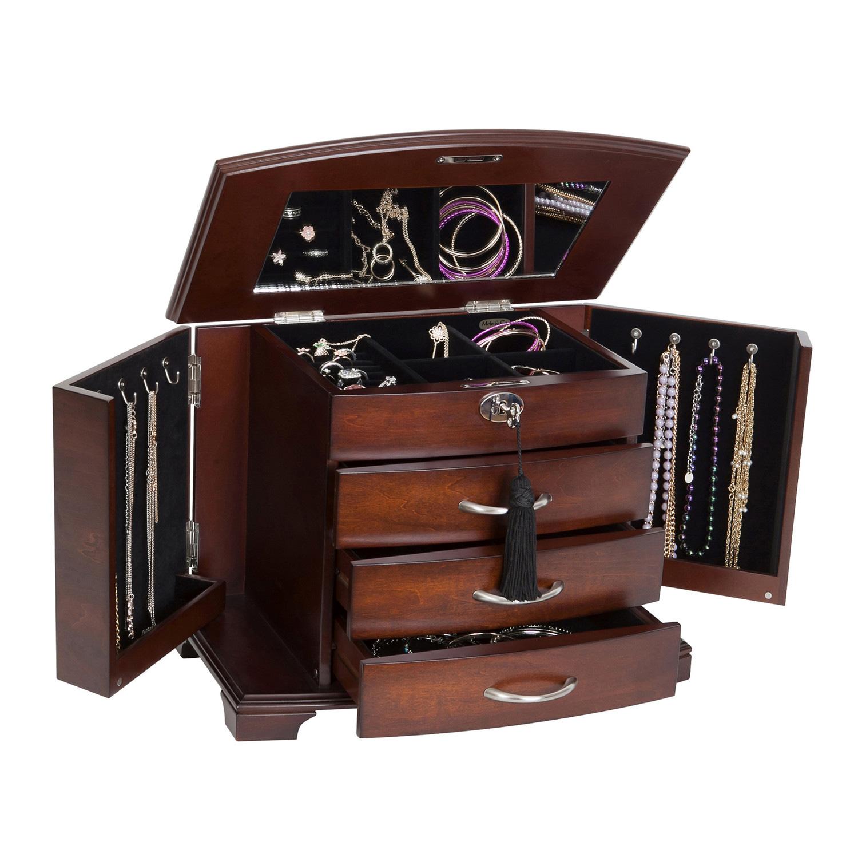 Extra large mahogany finish wooden jewellery box real wood