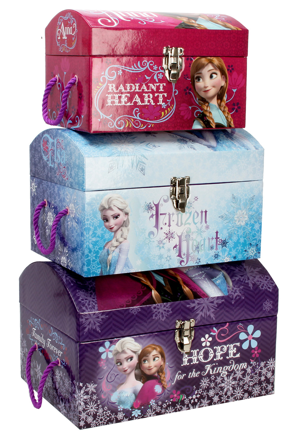 SET OF 3 GIRLS KIDS DISNEY FROZEN DOMED TOY CHESTS STORAGE TRUNKS BOXES TOYBO