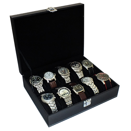 mens black or red faux leather 10 compartment watch storage box shop categories