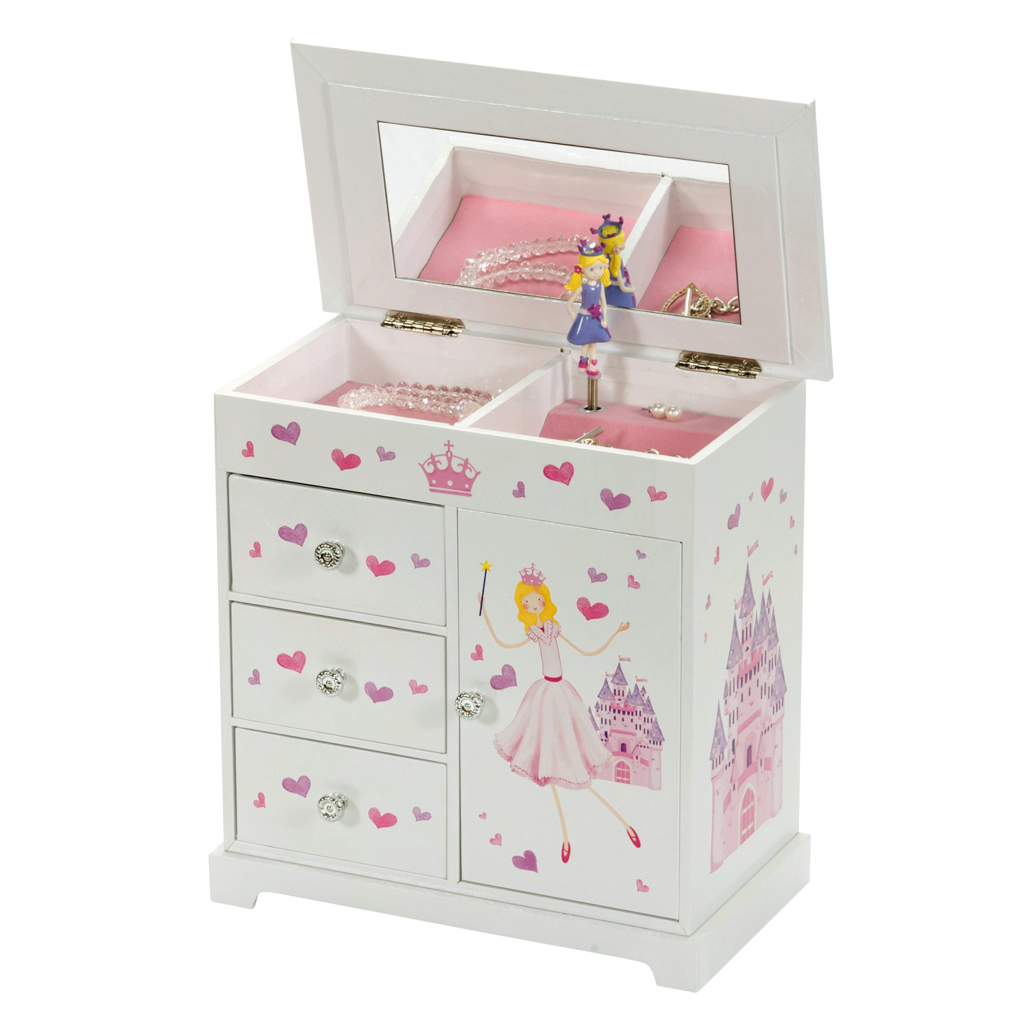 Girls childrens large musical princess jewellery box for Girls large jewelry box