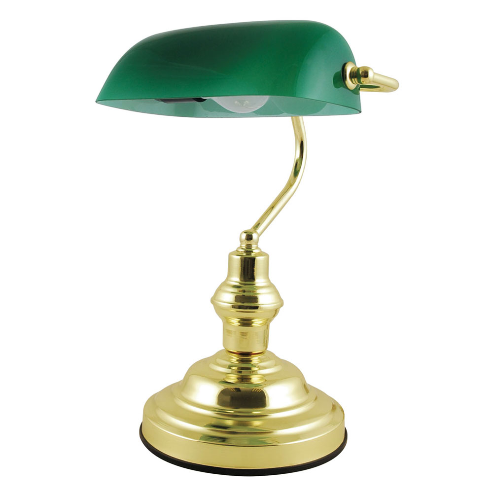 classic retro style advocate bankers desk lamp table light polished brass finish ebay. Black Bedroom Furniture Sets. Home Design Ideas