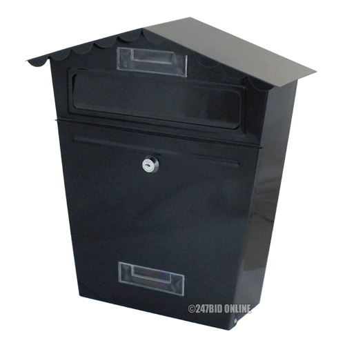Large Black Lockable Steel Letter Mail Post Box Letterbox
