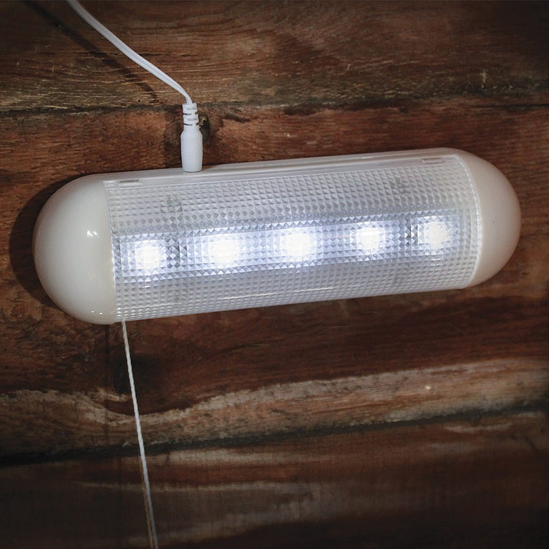 TWIN PACK 5 LED SOLAR POWERED GARDEN SHED LIGHT