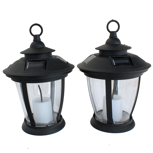 Patio Table Lights Uk: 2 X OUTDOOR SOLAR FLICKERING LED CANDLES VICTORIAN STYLE