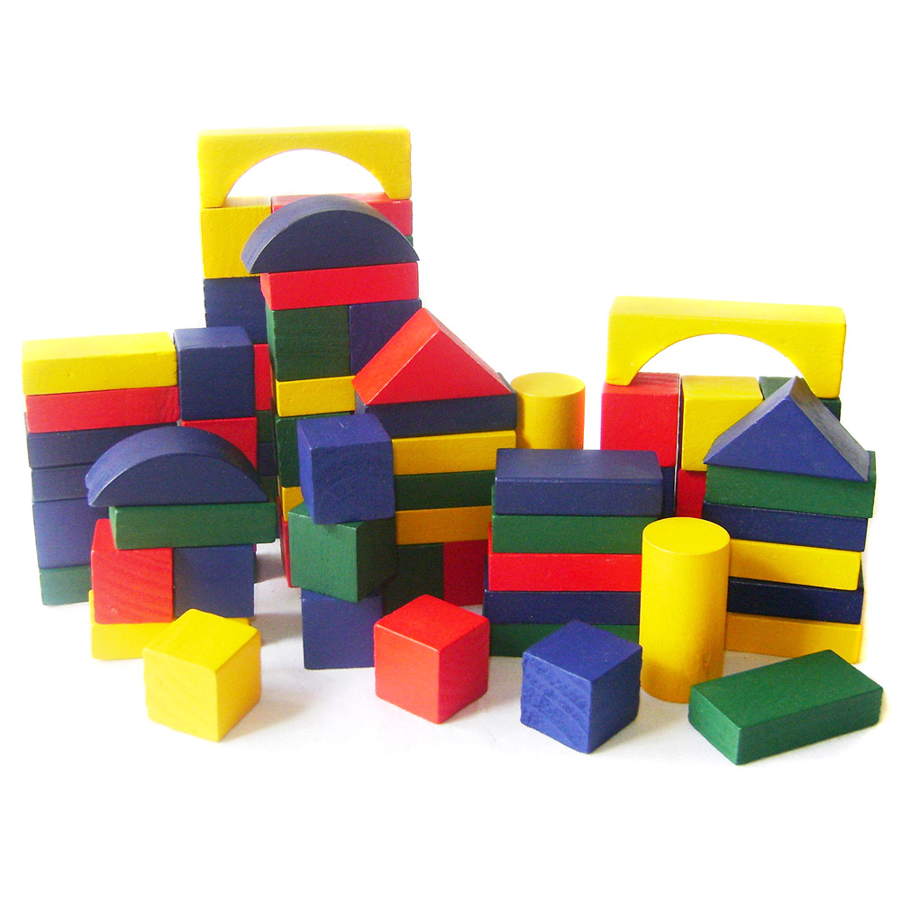 Childrens 50pc Wooden Building Blocks Kids Construction